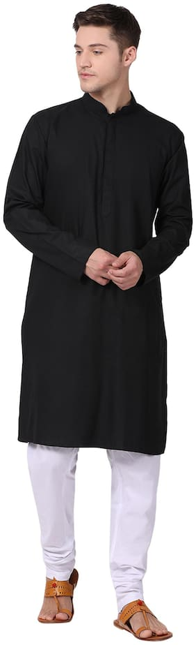 Tabard Cotton Black Kurta