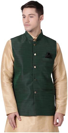 Tabard Men Green Solid Regular Fit Ethnic Jacket