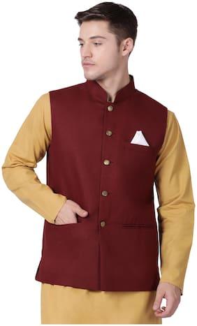 Tabard Men Maroon Solid Regular Fit Ethnic Jacket