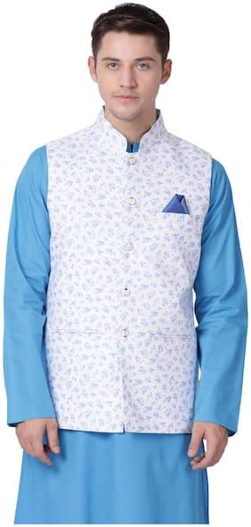Tabard Men White Printed Regular Fit Ethnic Jacket