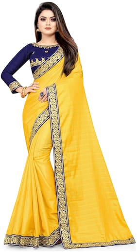 TABOODY EMPIRE  Women Artificial Silk Yellow Designer Saree With Blouse