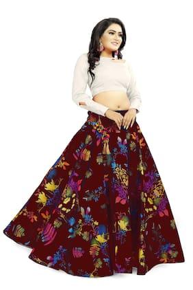 TABOODY EMPIRE Satin Multi Printed Lehenga & Blouse  For Women