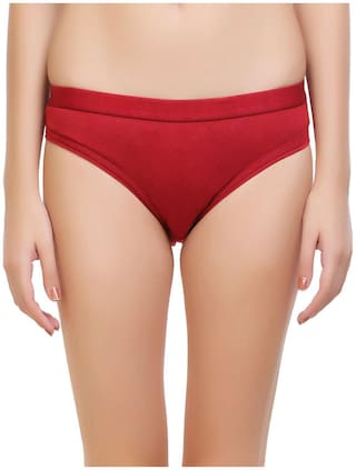 Tace Pack Of 1 Solid Mid Waist Bikini - Red