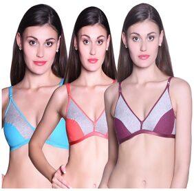 Tace Multi Color Cotton Set Of 3 Women's Bra