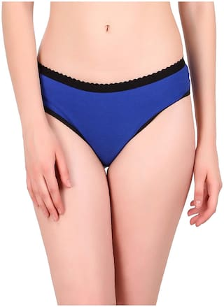 Tace Pack Of 1 Solid Mid Waist Hipster Panty - Blue