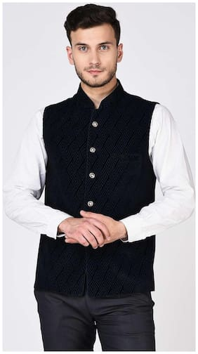 Tag 7 Black Velvet Nehru Jacket