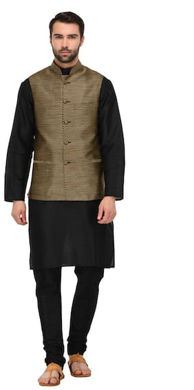 Tag 7 Men Regular Fit Dupion Full Sleeves Solid Kurta Pyjama - Black