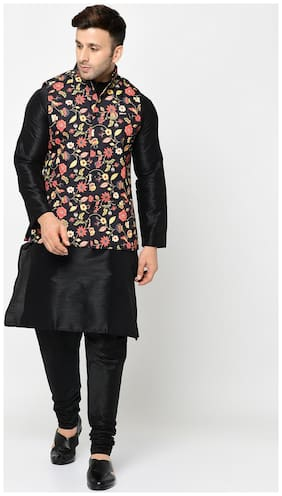 Tag 7 Black Kurta Pajama with Black Floral Printed Jacket