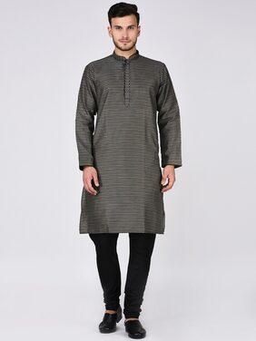 Tag 7 Men Regular Fit Dupion Full Sleeves Printed Kurta Pyjama - Black