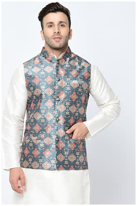 Tag 7 Blended Printed Ethnic Jackets Blue
