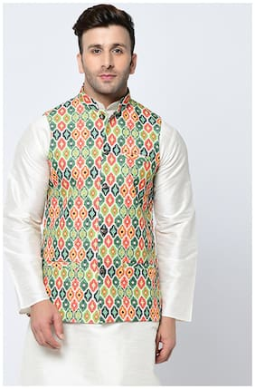 Tag 7 Blended Printed Ethnic Jackets Green