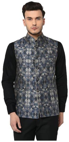 TAG 7 Blue Multi Printed Nehru Jacket