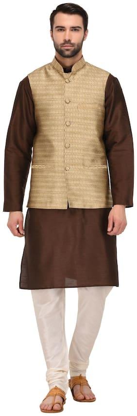 TAG 7 Brown Kurta Pajama with golden jacket