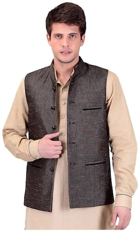 Tag 7 Men Regular Fit Cotton Sleeveless Solid Ethnic Jackets - Brown