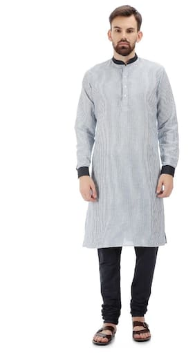 Tag 7 Men Regular Fit Linen Full Sleeves Striped Kurta Pyjama - Grey