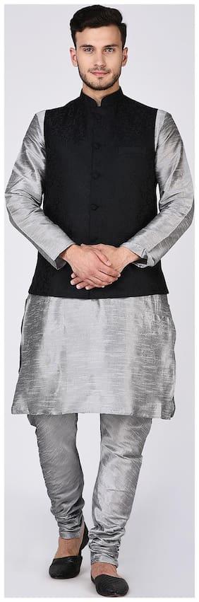 Tag 7 Men Regular fit Dupion Full sleeves Printed Kurta Pyjama - Grey