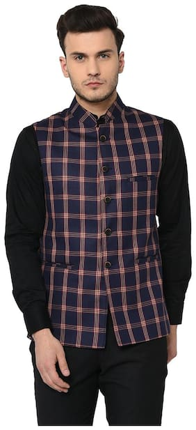 Men Checked Rayon Ethnic Jacket