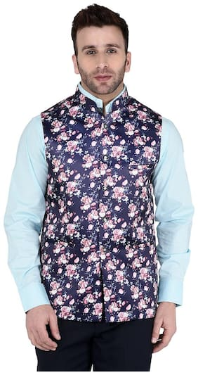 TAG 7 Navy Coloured Printed Nehru Jacket
