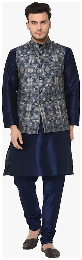 TAG 7 Navy Kurta Pajama with Self Design Jacket