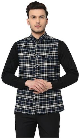 TAG 7 Navy White Checkered Nehru Jacket