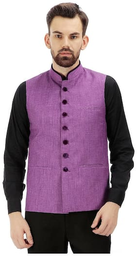 Tag 7 Men Regular Fit Cotton Sleeveless Solid Ethnic Jackets - Blue