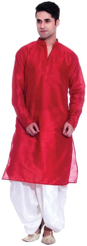 Tag 7 Red Silk Dhoti Kurta