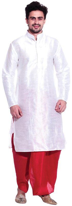 Tag 7 White Silk Dhoti Kurta