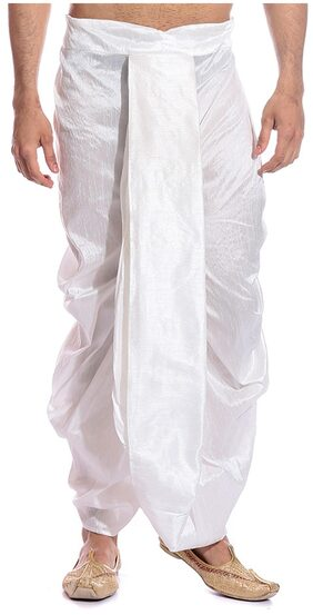 Tag 7 Cotton Solid Regular Dhoti Dhoti - White