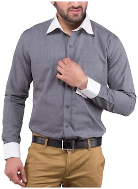 Tag & Trend French Cuffs Cotton Formal Shirt Grey Color