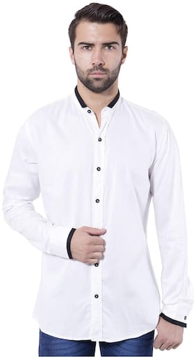 Tag & Trend White Slim Fit Cotton Casual Shirt