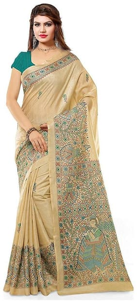 Tagline Wedding Off White Designer Bhagalpuri Printed Saree