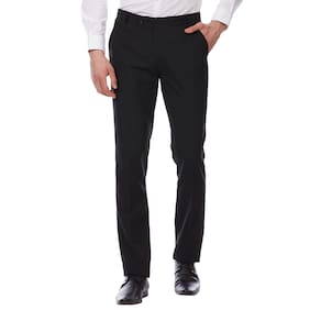 TAHVO Men Striped Slim Fit Formal Trouser - Blue