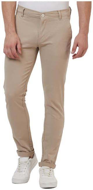 TAHVO Men Beige Solid Slim fit Wrinkle free Regular trousers