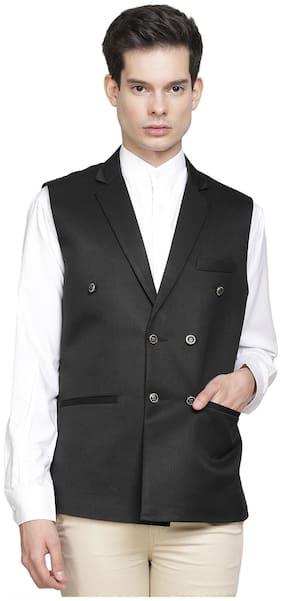 TAHVO Men Cotton blend Regular fit Waistcoat - Black