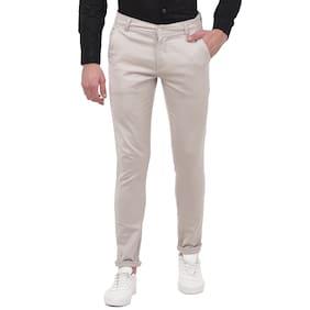 TAHVO Men Grey Solid Slim fit Travel friendly Chinos