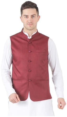 TAHVO Men Maroon Solid Slim Fit Ethnic Jacket