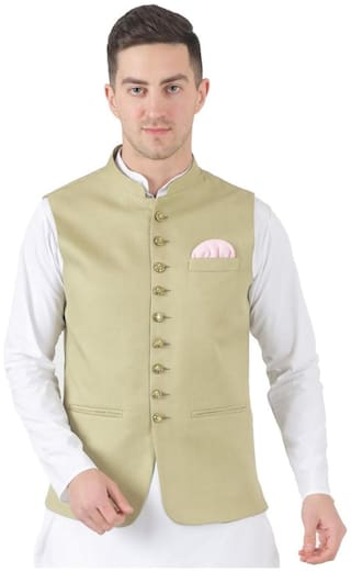 TAHVO Men Green Solid Slim Fit Ethnic Jacket