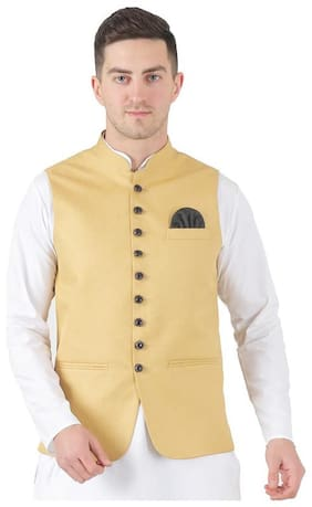 TAHVO Men Beige Solid Slim Fit Ethnic Jacket