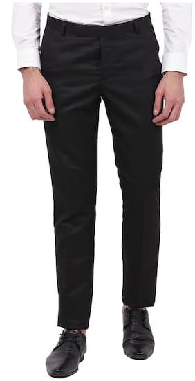 TAHVO Men Black Solid Slim fit Regular trousers