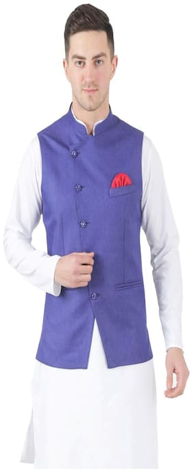 TAHVO Men Purple Solid Slim Fit Ethnic Jacket