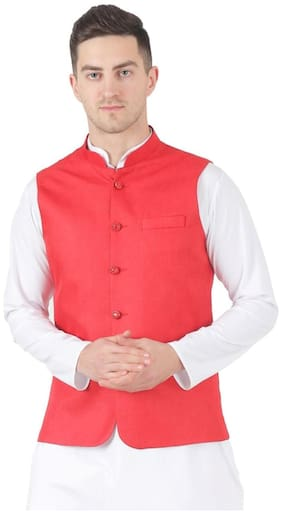 TAHVO Men Red Solid Slim Fit Ethnic Jacket