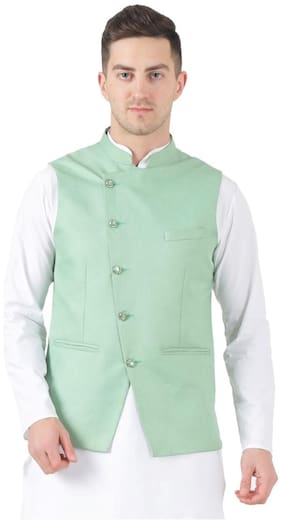 TAHVO Men Green Solid Slim Fit Ethnic Jacket