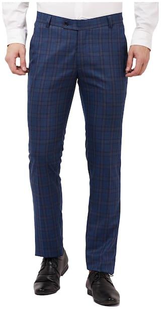 TAHVO Men Blue Checked Slim fit Regular trousers