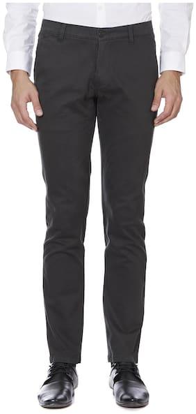 TAHVO Men Solid Slim Fit Formal Trouser - Black