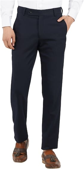 TAHVO Men Solid Slim Fit Formal Trouser - Navy Blue