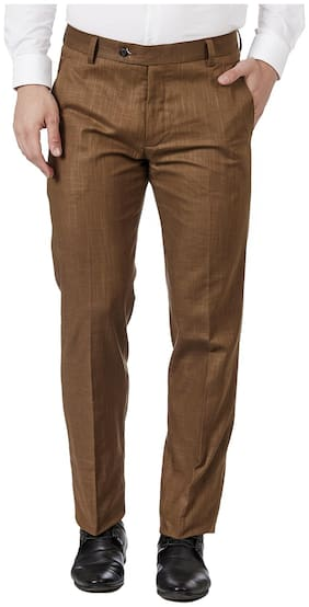 TAHVO Men Textured Regular Fit Formal Trouser - Brown