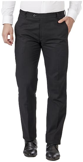 TAHVO Men Textured Regular Fit Formal Trouser - Black