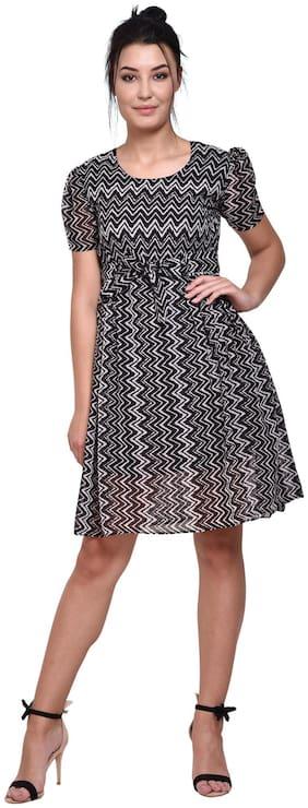 Tamanna Black Printed Wrap dress