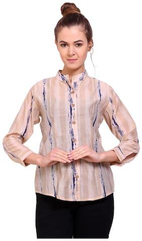 Tamanna Women Beige Printed Regular Fit Shirt
