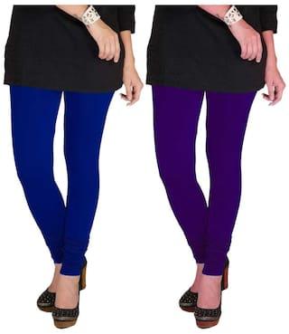TBZ Cotton Lycra Women's Leggings (Royal Blue & Purple) Pack of Two - XXL